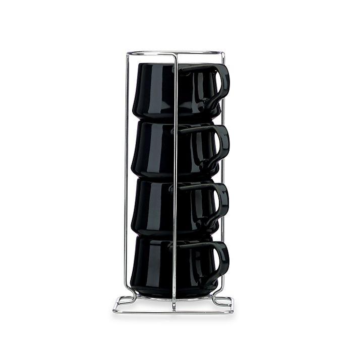 Alternate image 1 for Dansk Kobenstyle Espresso Cups with Rack in Black (Set of 4)