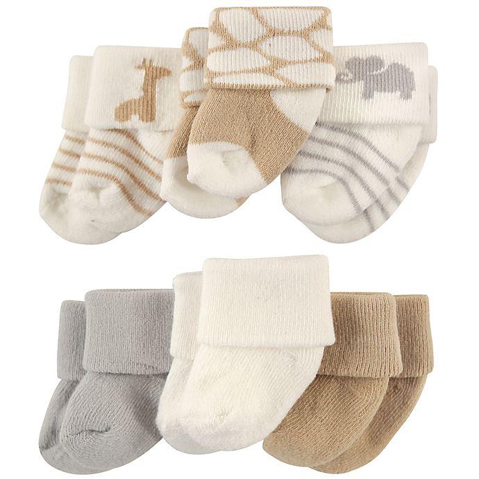 Alternate image 1 for Luvable Friends® Size 0-3M 6-Pack Safari Socks in Cream