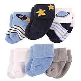 Luvable Friends® Size 0-3M 6-Pack Outer Space Terry Socks in Blue