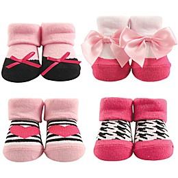 Hudson Baby® Size 0-9M Heart 4-Pack Socks Gift Set in Pink