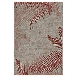 LR Home Sunset Palms Indoor/Outdoor Area Rug in Red/Beige