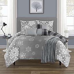 Crystal Palace 6-Piece Reversible Queen Comforter Set in Grey