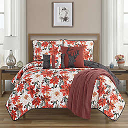 Primera Flor 6-Piece Reversible King Quilt Set in Red
