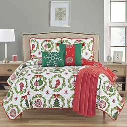Ornamental 6-Piece Reversible Queen Quilt Set in Red