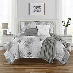 Dazzling Star 6-Piece Reversible Queen Quilt Set in Grey