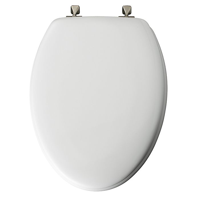 Alternate image 1 for Mayfair Elongated Molded Wood Toilet Seat with Brushed-Nickel Hinge in White