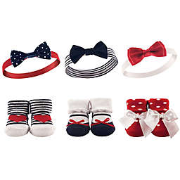 Hudson Baby® 6-Piece Headband and Sock Set in Red/White