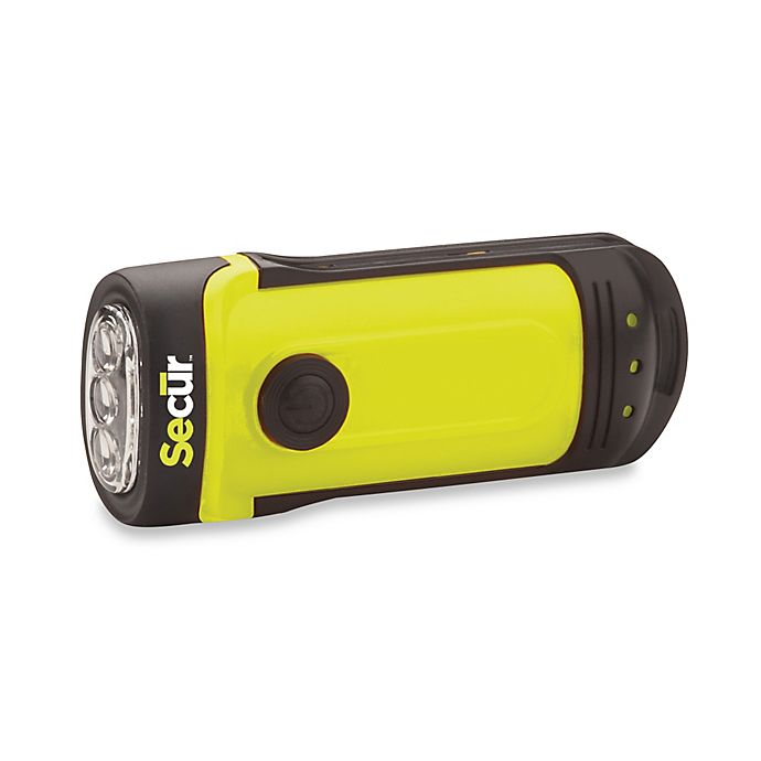 Alternate image 1 for Secur Dynamo Battery Operated Powered Waterproof LED Flashlight
