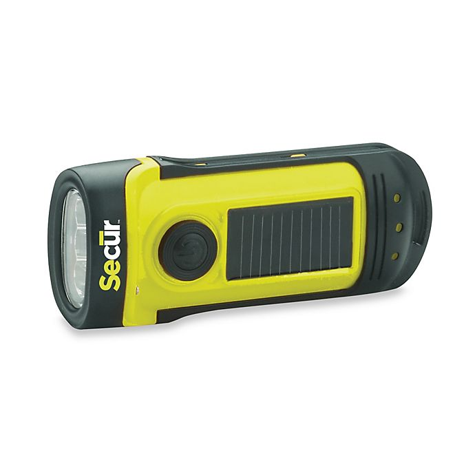 Alternate image 1 for Secur Solar/Dynamo Battery Operated Powered Waterproof LED Flashlight