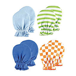 Luvable Friends® Size 0-6M 4-Pack Stripes and Checkers No Scratch Mittens
