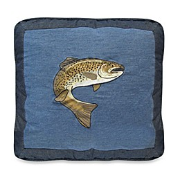 Donna Sharp Denim Square Fish Throw Pillow