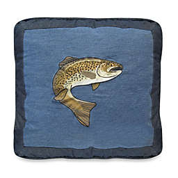 Donna Sharp Denim Square Fish Throw Pillow