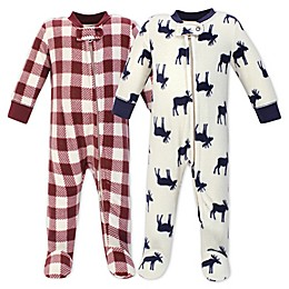Little Treasure Moose 2-Pack Fleece Sleep 'N Play Fleece Pajamas