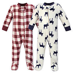 Little Treasure Moose 2-Pack Fleece Sleep 'N Play Fleece Pajamas