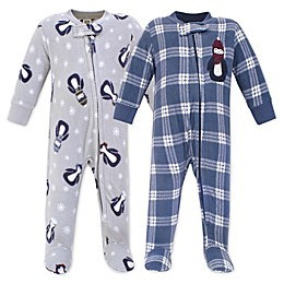 Hudson Bay Blue Penguin 2-Pack Fleece Sleep 'N Play Fleece Pajamas
