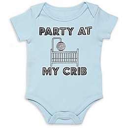 """Baby Starters® """"Party at My Crib"""" Short Sleeve Bodysuit in Light Blue"""