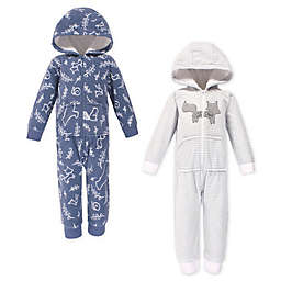 Yoga Sprout 2-Pack Forest Long Sleeve Hooded Fleece Toddler Jumpsuits in White/Blue