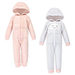 Yoga Sprout Toddler 2-Pack Fleece Jumpsuits in Pink/Cloud