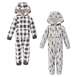 Hudson Baby® 2-Pack Forest Bears Hooded Fleece Toddler Jumpsuits in Grey
