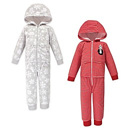 Hudson Baby® 2-Pack Winter Prints Hooded Fleece Toddler Jumpsuits in Red/Grey