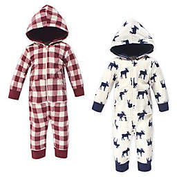 Little Treasure 2-Pack Moose Fleece Coveralls in Red