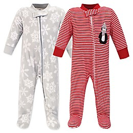 Hudson Baby® 2-Pack Penguin Sleep N' Play Fleece Pajamas in Red/Grey