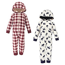 Little Treasure 2-Pack Moose Hooded Fleece Toddler Jumpsuits in White/Red