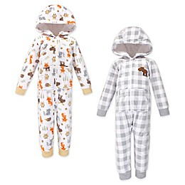 Hudson Baby® 2-Pack Woodland Animals Hooded Fleece Toddler Jumpsuits in Grey/White