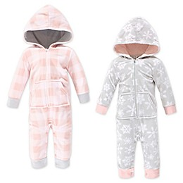 Hudson Baby® 2-Pack Hooded Fleece Jumpsuits in Gray/Pink