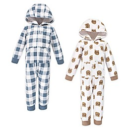 Hudson Baby® 2-Pack Little Bear Hooded Fleece Toddler Jumpsuits in White/Blue