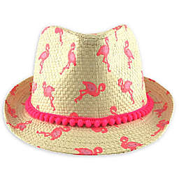 Flamingo Woven Straw Hat in Pink