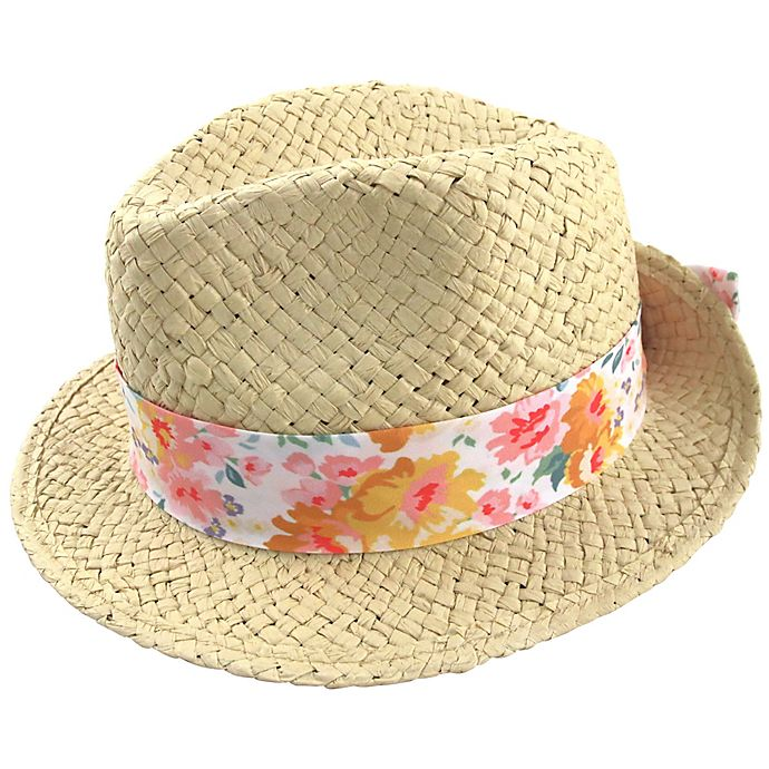 Alternate image 1 for Straw Fedora Hat with Floral Cotton Band