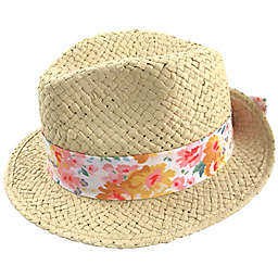 Straw Fedora Hat with Floral Cotton Band