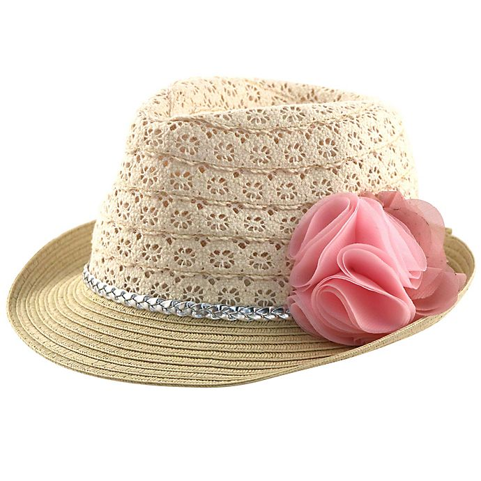 Alternate image 1 for Straw Fedora Hat with Flower and Lace Crown