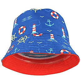 Lighthouse Woven Cotton Hat in Red/Blue