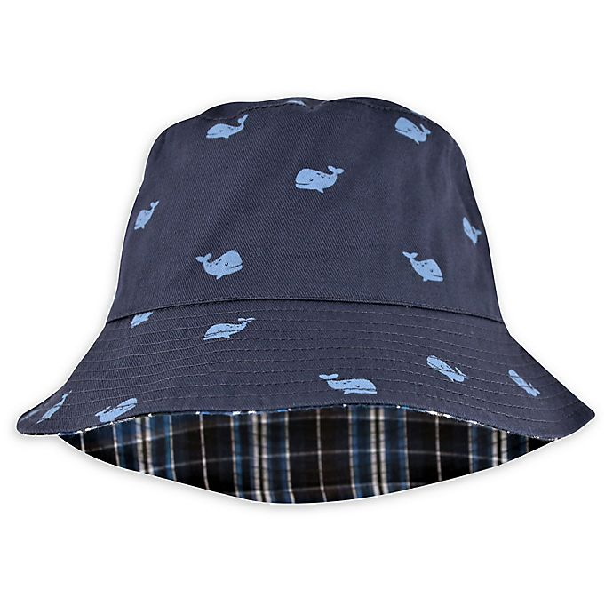 Alternate image 1 for Addie & Tate Whale/Plaid Reversible Bucket Hat in Navy