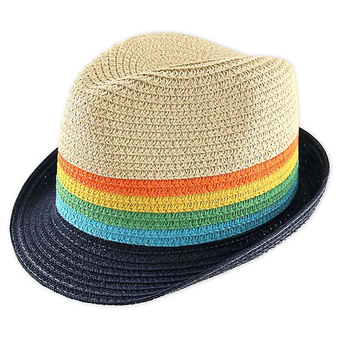 Alternate image 1 for Addie & Tate Striped Fedora in Natural/Navy