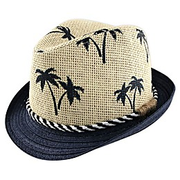 Addie & Tate Palm Tree Fedora in Blue/Natural