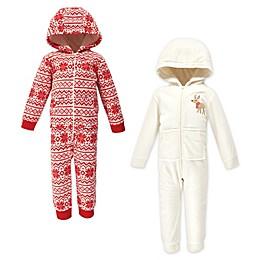 Hudson Baby® 2-Pack Reindeer Fleece Hooded Toddler Coveralls in Red