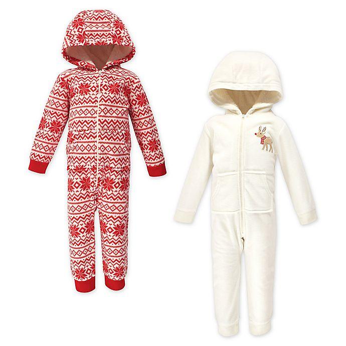 Alternate image 1 for Hudson Baby® 2-Pack Reindeer Fleece Hooded Toddler Coveralls in Red