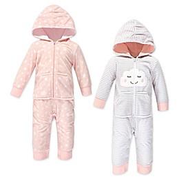 Hudson Baby® 2-Pack Cloud Hooded Fleece Jumpsuits in Pink