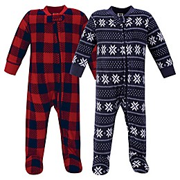 Hudson Baby® 2-Pack Sweater Plaid Fleece Sleep and Play Footies in Blue