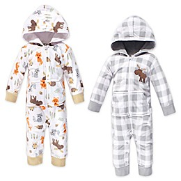 Hudson Baby® 2-Pack Woodland Fleece Jumpsuits