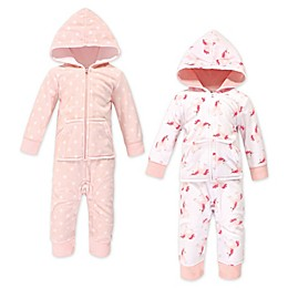 Hudson Baby® 2-Pack Unicorn Hooded Fleece Jumpsuits in Pink