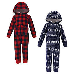 Hudson Baby® 2-Pack Sweater Plaid Fleece Hooded Toddler Coveralls in Navy