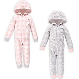 Hudson Baby® 2-Pack Snowflake Hooded Fleece Toddler Jumpsuits in Pink/Grey
