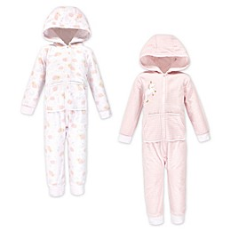 Yoga Sprout 2-Pack Unicorn Fleece Hooded Toddler Coveralls in Pink
