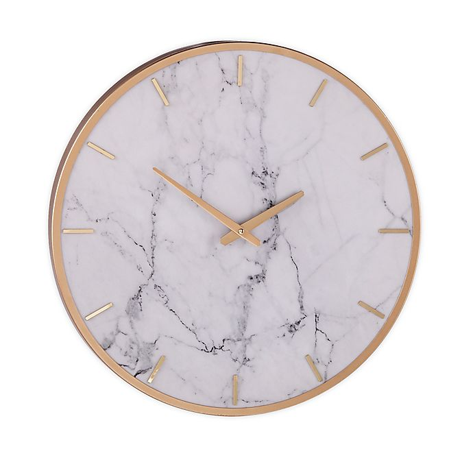 Alternate image 1 for Southern Enterprises Lenzienne Faux Marble 19.75-Inch Wall Clock in White