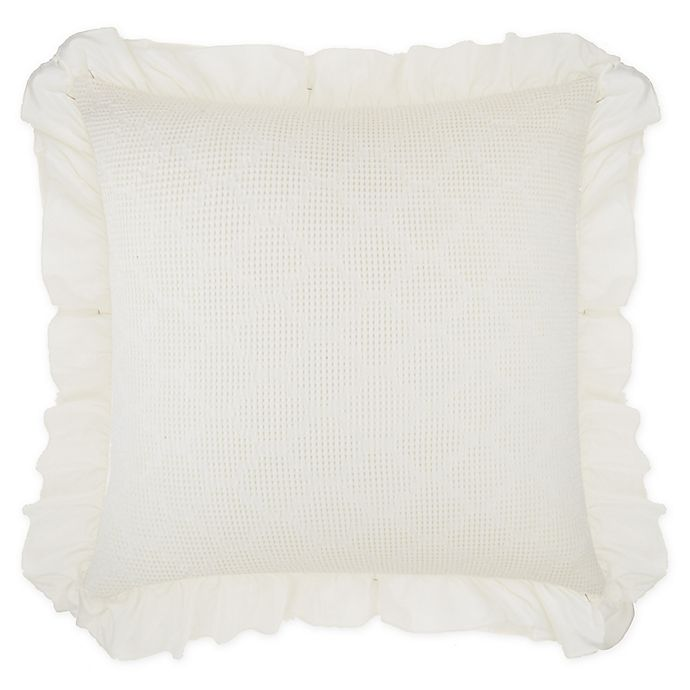Alternate image 1 for Wamsutta® Vintage Blythe Jacquard Ogee Waffle Textured European Pillow Sham in White