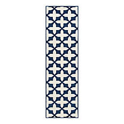 "Baja Crisscross 2'3"" X 7'6"" Indoor/Outdoor Runner in Navy"
